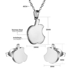 Stainless Steel Apple Jewelry Set