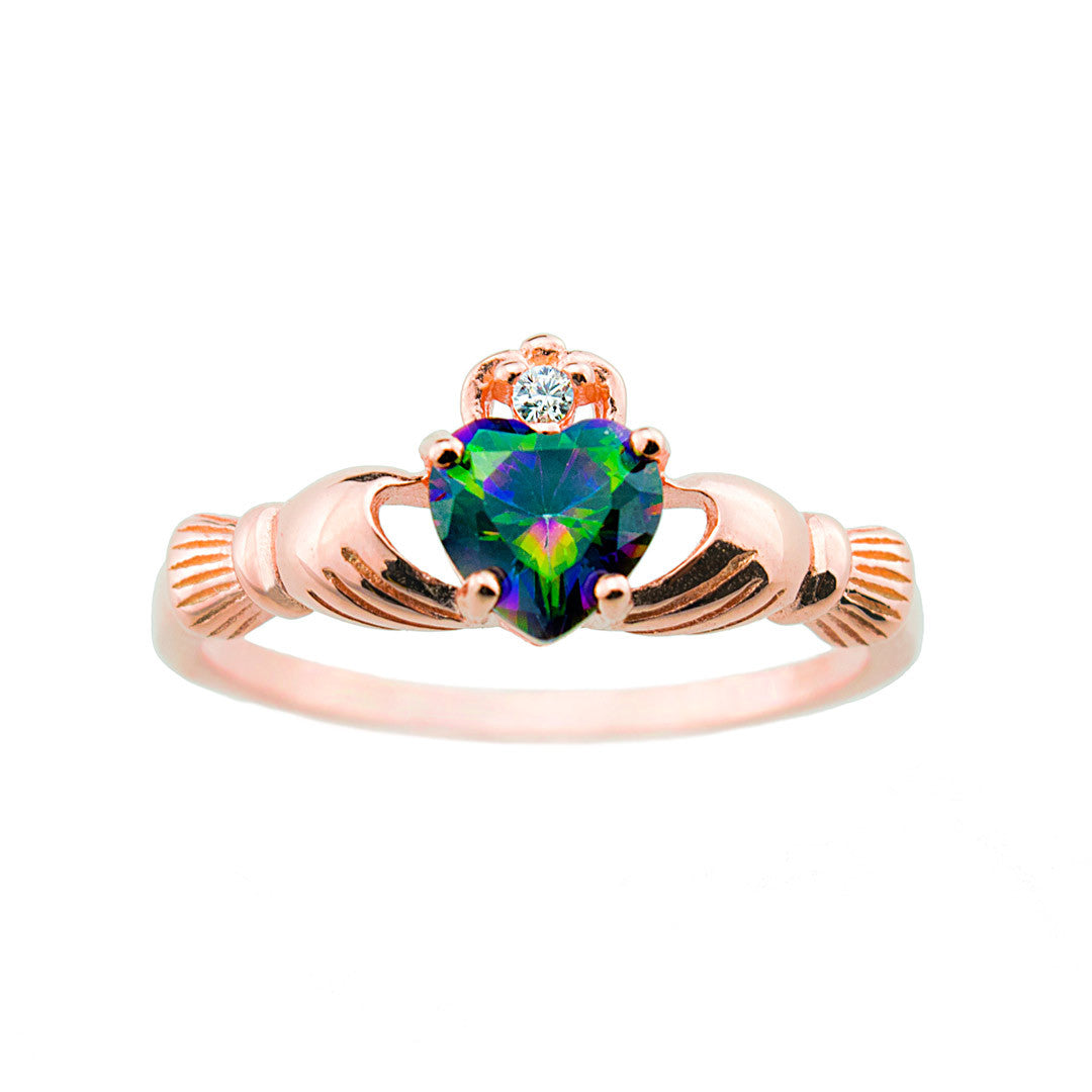 Silver rose gold claddagh ring
