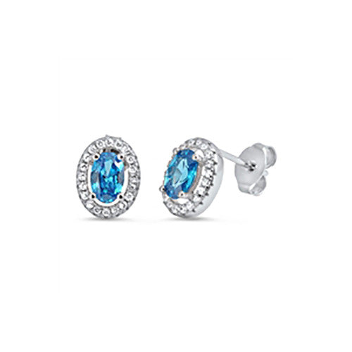 Blue CZ Earrings Studs