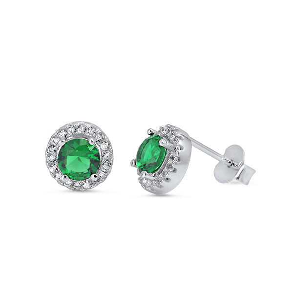 Sterling Silver Emerald CZ Earrings