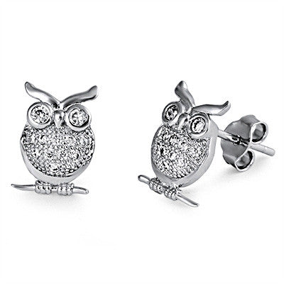 Sterling silver ute owl earrings