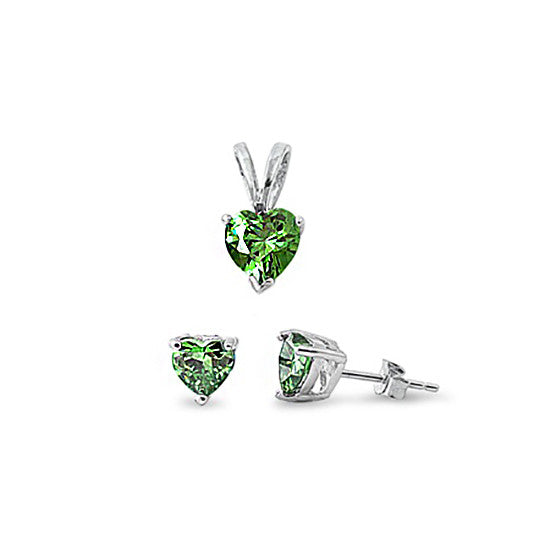Sterling Silver Emerald CZ Set