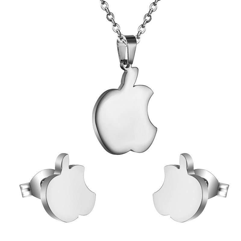 Stainless Steel Apple Earrings