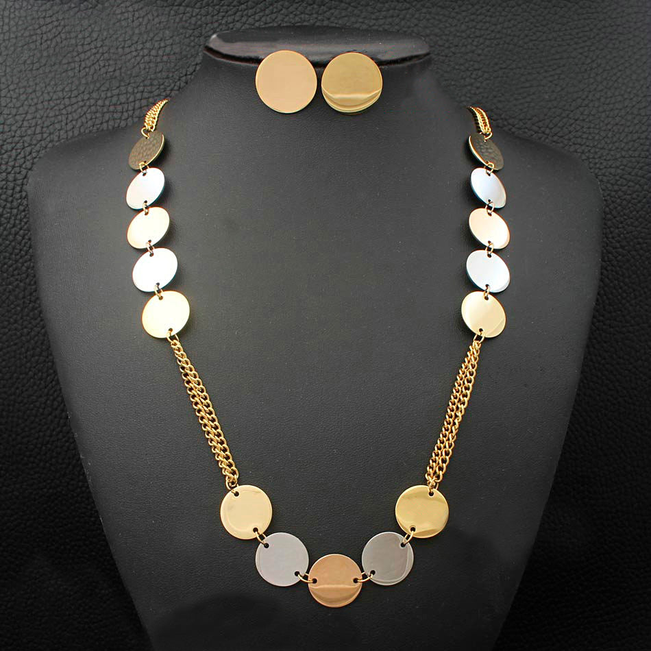 Stainless Steel Three-tone Long Necklace and Earrings Set
