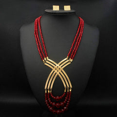 Stainless Steel Ruby Red and Gold Set