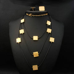 Stainless Steel Square Pendant Multilayered Necklace and Earrings set