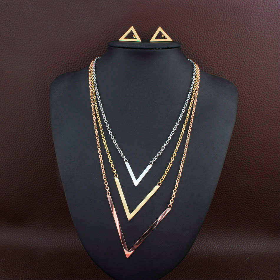 Stainless Steel 3-tone Geometric Long Necklace and Earrings Set