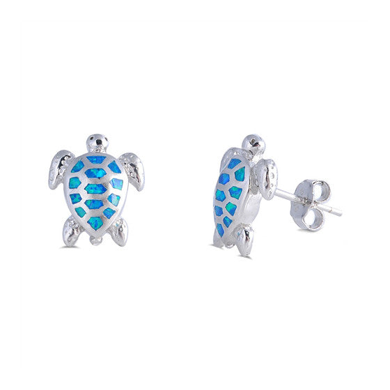 Sterling Silver Blue CZ Turtle Earrings