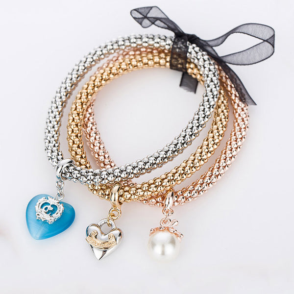 Pearl and Heart Charm Bracelet