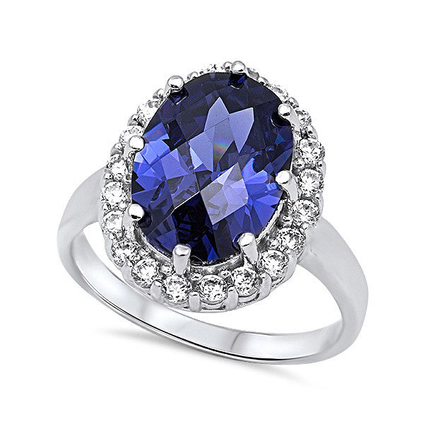 925 Sterling Silver Blue CZ Ring