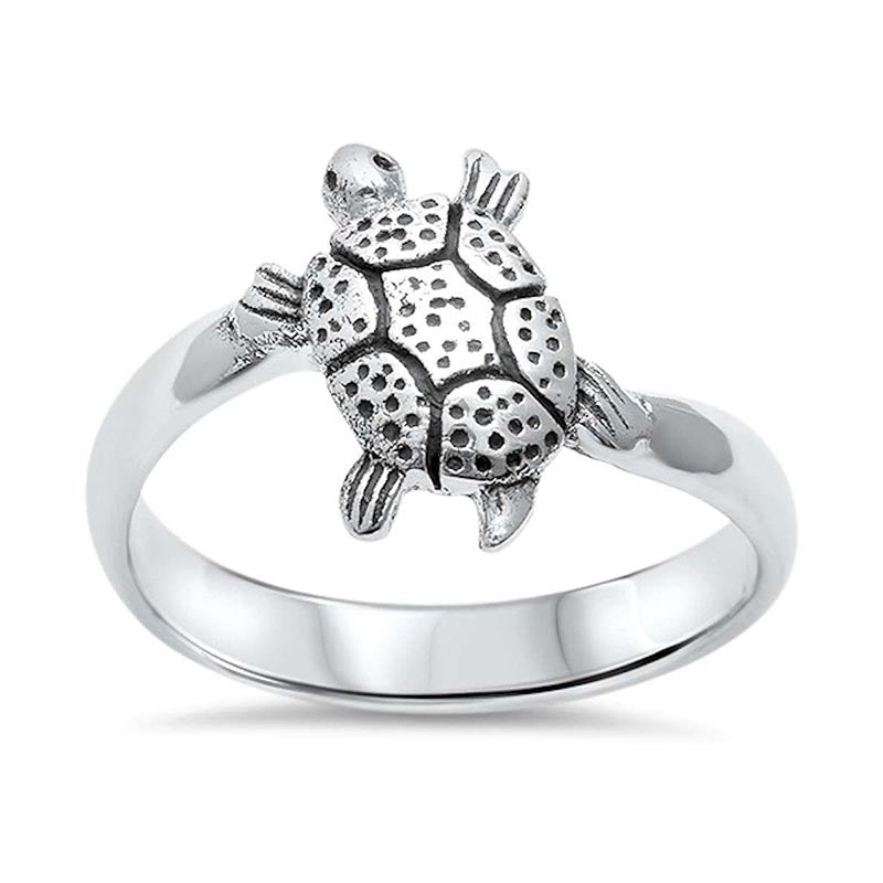Sterling silver turtle ring for women
