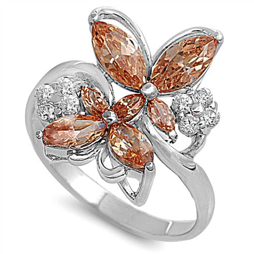 925 Sterling Silver Sunset Butterfly Ring