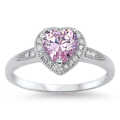 Sterling silver pink cz ring for women