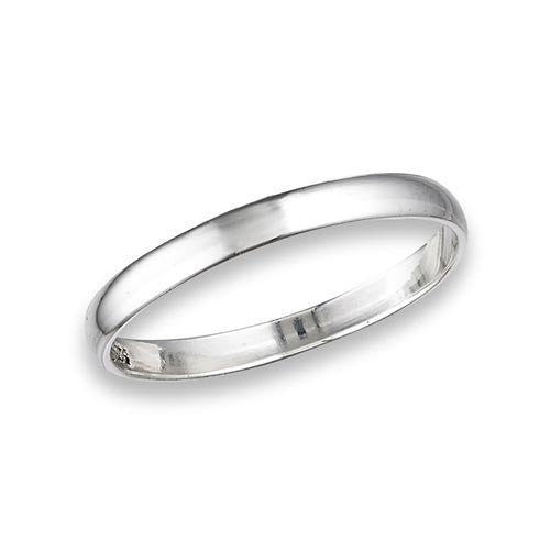 925 Sterling Silver High Polish Plain Wedding Band 2.5 mm