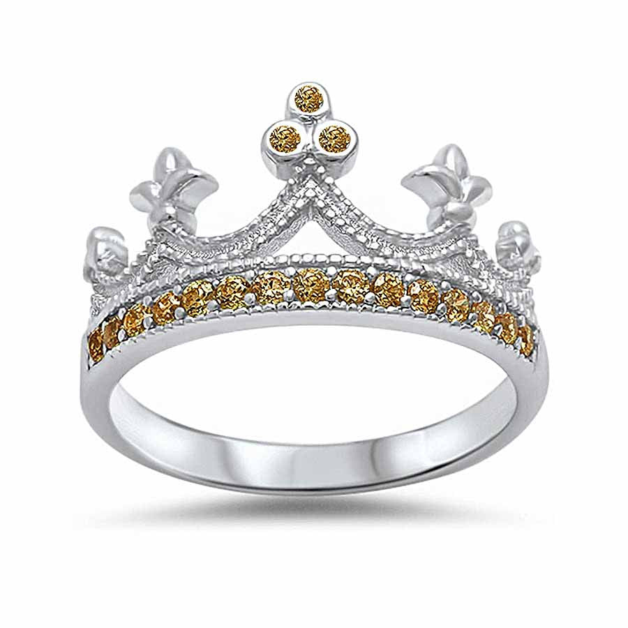 Sterling silver king crown ring