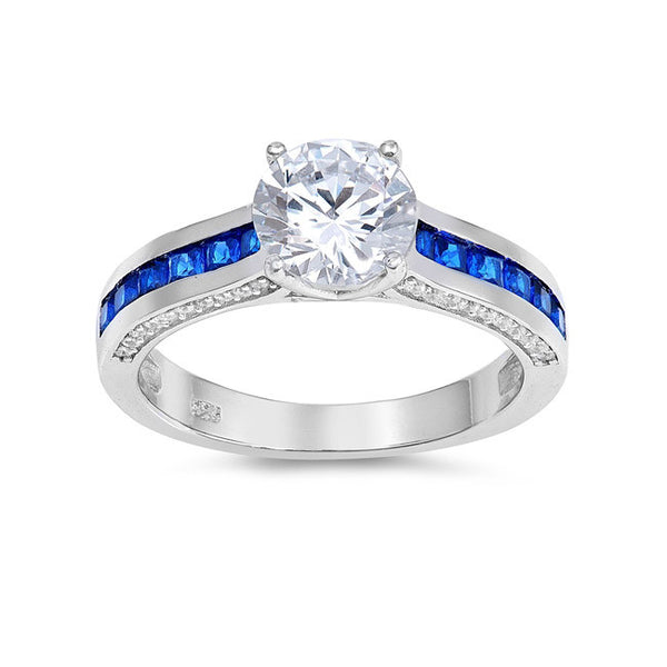 Sterling silver engagement ring blue