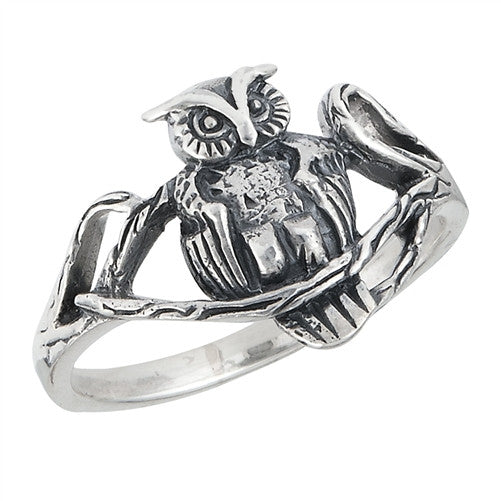 Sterling silver owl ring for women