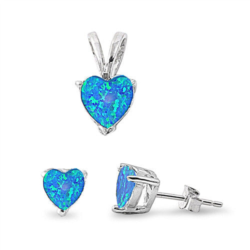 Sterling Silver Blue Opal Set