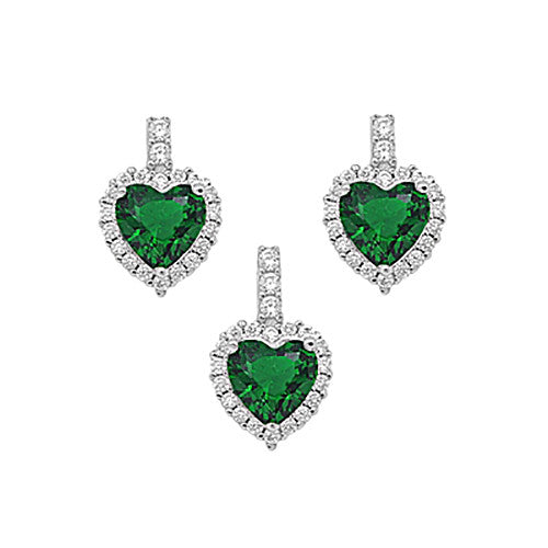 925 Sterling Silver Emerald CZ Set