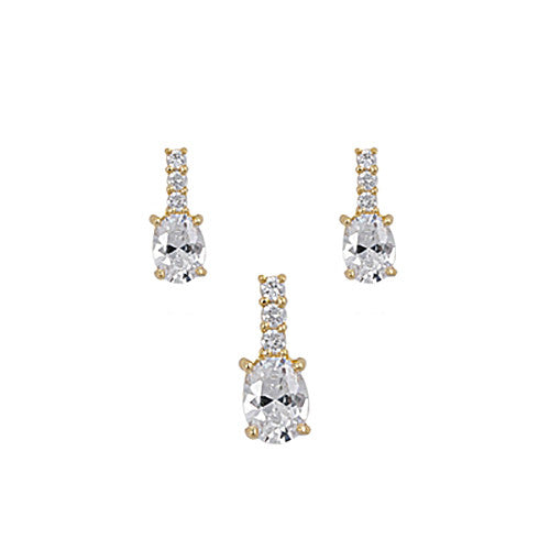 Sterling Silver Clear CZ Set