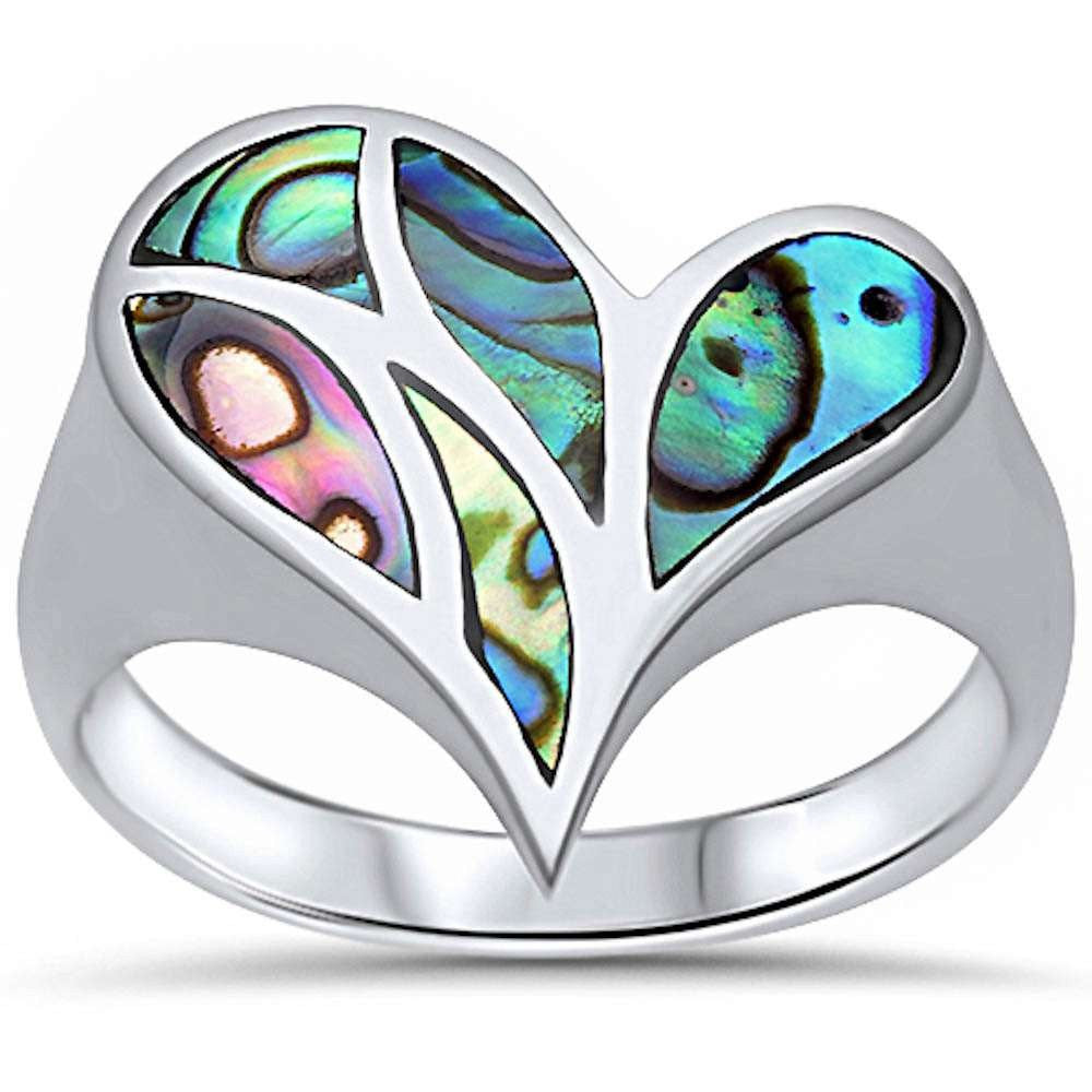 Sterling Silver Abalone Heart Ring