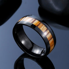Stainless Steel Wood Black Ring