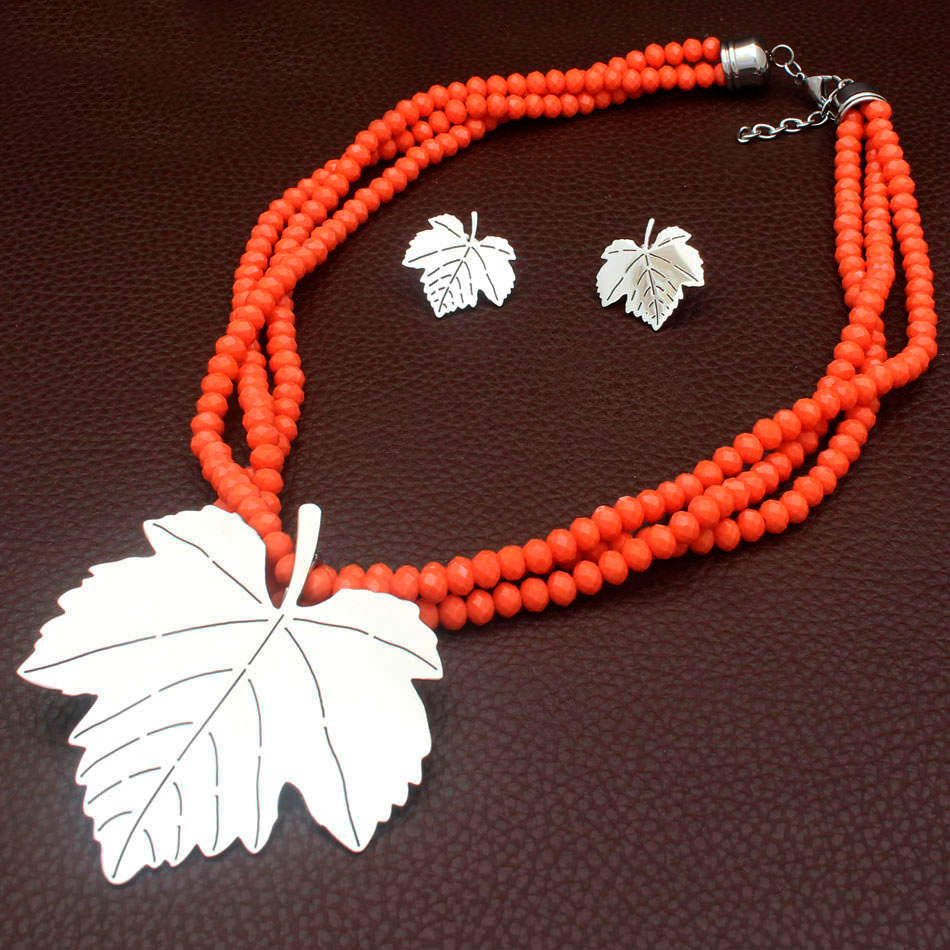Stainless Steel Bead and Leaf Set