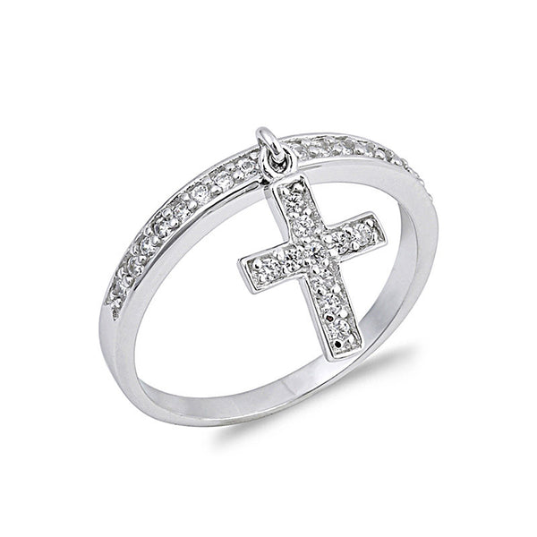 CZ Sterling Silver Cross Ring