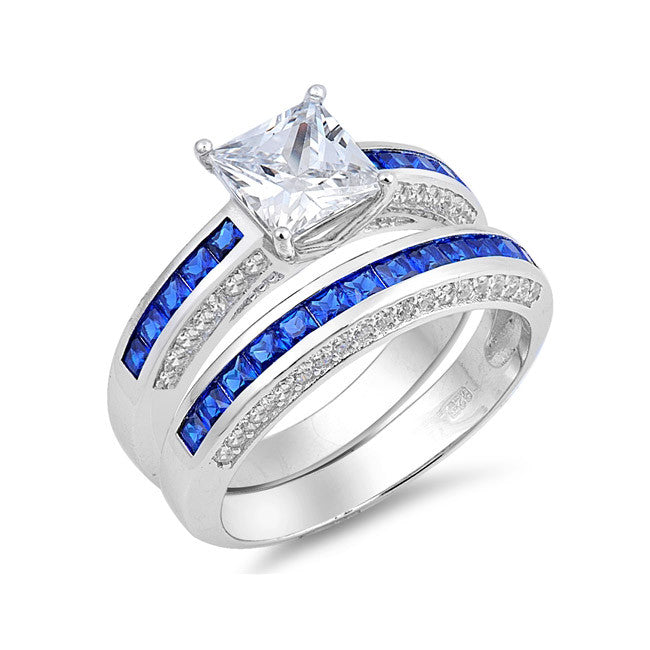 Sterling Silver Engagement Rings Blue CZ