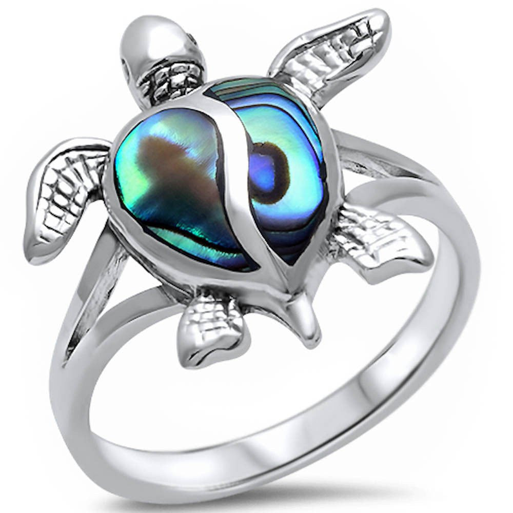 Sterling Silver Abalone Shell Turtle Ring