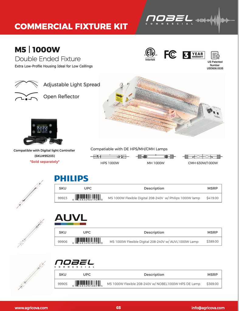 NOBEL COMMERCIAL M5 1000W Double Ended Fixture
