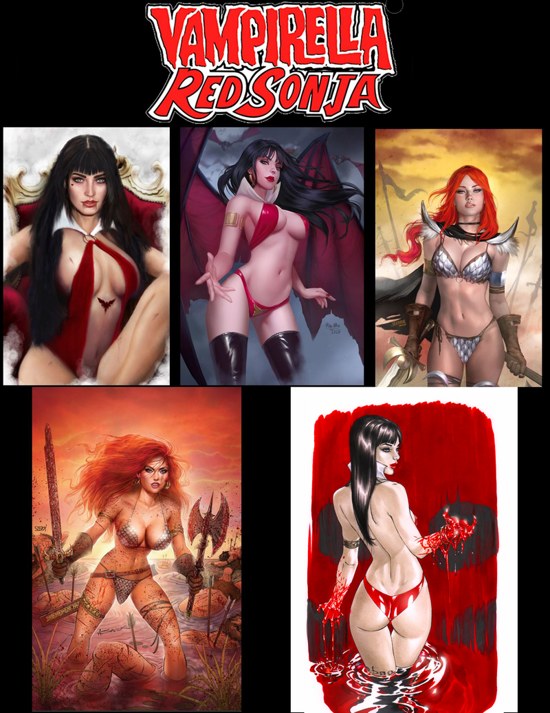 Vampirella #12 & Red Sonja Age Of Chaos #6 5 Cover Bundle