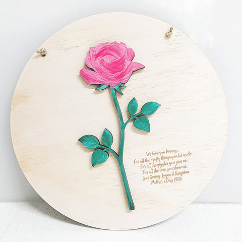 3D Rose Plaque