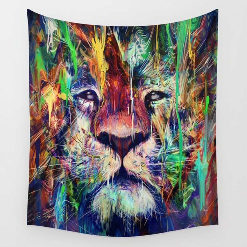 Trippy Lion Tapestry - Mart Wind