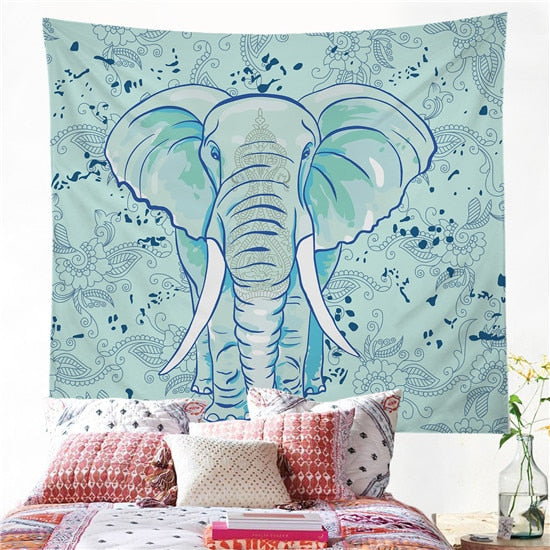 Blue Boho Elephant Tapestry - Mart Wind