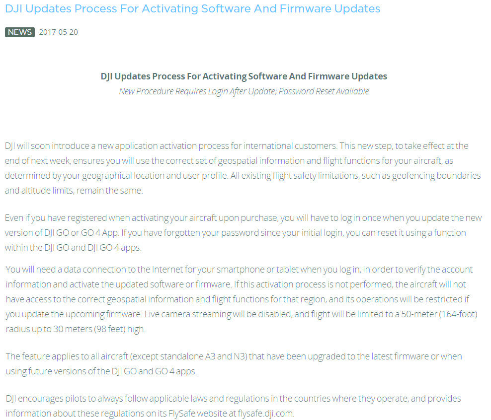 DJI announces new Process for activating Firmware & Software