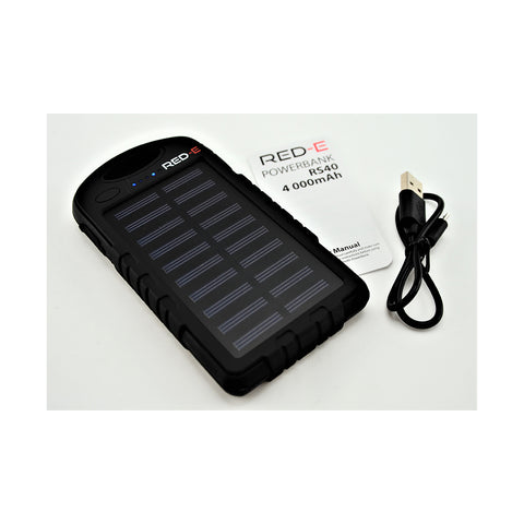 [product-type]-Red-E Power Bank Rs40 4K Mah Black Solar+Led Panel. - Action Gear