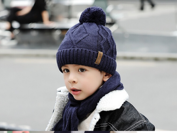KB107 Kids Beanie with Pompom Lined one Set with Scarf