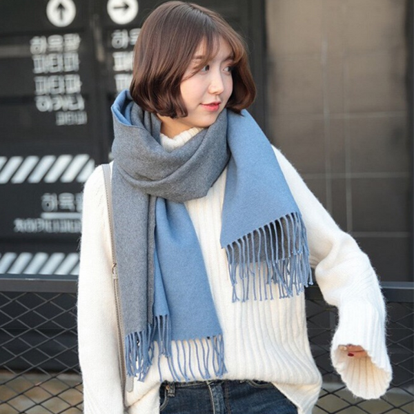 WS104 Warm Scarf  Double Sided Blue