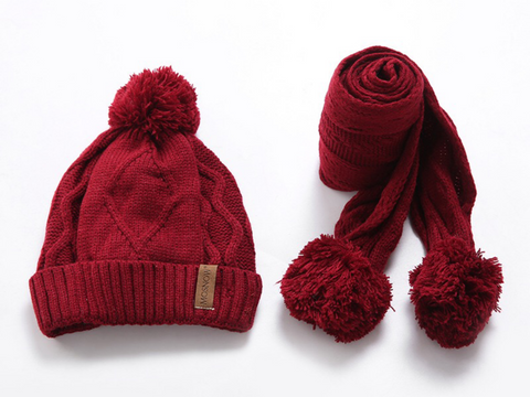 KB107 Kids Beanie with Pompom Lined  with Scarf  Red