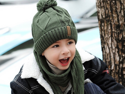KB107 Kids Beanie with Pompom Lined  with Scarf Green