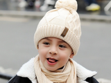 KB107 Kids Beanie with Pompom Lined  with Scarf Cream