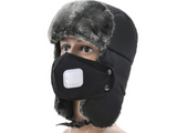 B120 Ski Winter  Aviator Hat with Face Mask Black Kids Size