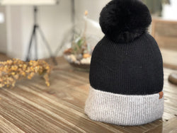 B126 Pompom Beanie with Lining  Black