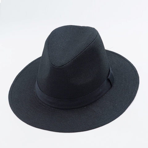 Wide  Brim Trilby With Strap in Linen Feel Material