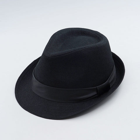 Short Brim Trilby With Strap in Linen Feel Material
