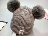 KB20104 Baby Beanie with Double Pompom Grey