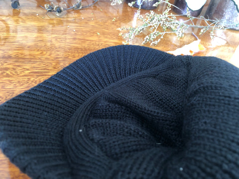 B125 Unisex Knit Beanie Visor Cap Winter Hat with or without Soft Lining Black