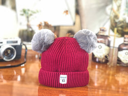 KB20104 Baby Beanie with Double Pompom Maroon
