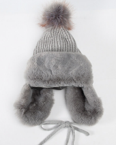 B119 Warm Beanie with Ear Flaps  Black Grey Brown